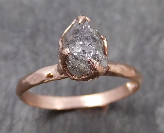 natural uncut salt and pepper Diamond Solitaire Engagement 14k Rose Gold Wedding Ring byAngeline 0983