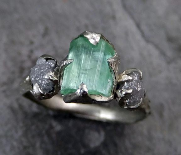 Raw sea green Tourmaline Diamond White Gold Engagement Ring Wedding Ring One Of a Kind Gemstone Ring Bespoke Three stone - Gemstone ring by Angeline
