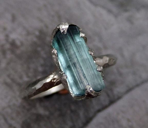Raw Blue Green Tourmaline White Gold Ring Rough Uncut Gemstone Promise Engagement recycled 14k stacking cocktail statement - Gemstone ring by Angeline