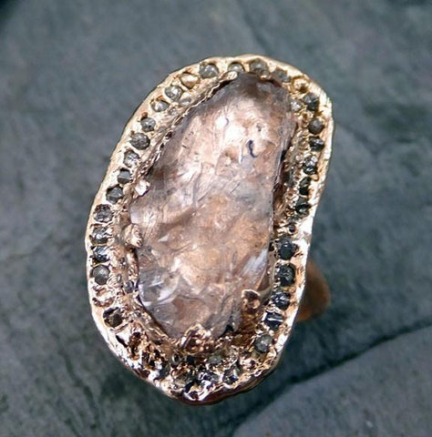 Raw Rough Uncut Gemstone Morganite Diamonds Rose Gold Halo Ring Multi stone Engagement Wedding Ring Statement ring anniversary ring 0035 - Gemstone ring by Angeline