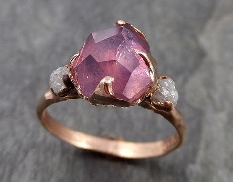 Sapphire Partially Faceted Multi stone Rough Diamond 14k rose Gold Engagement Ring Wedding Ring Custom One Of a Kind Gemstone Ring 0985