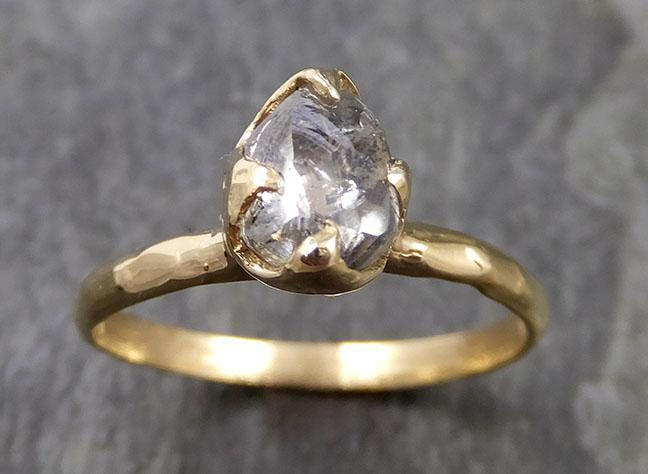 natural rough uncut salt and pepper Diamond Solitaire Engagement 14k yellow Gold Wedding Ring byAngeline 1002