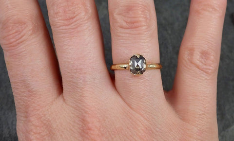 Fancy cut salt and pepper Diamond Solitaire Engagement 14k yellow Gold Wedding Ring Diamond Ring byAngeline 1001