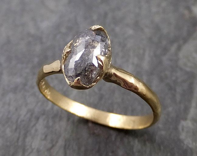 Fancy cut salt and pepper Diamond Solitaire Engagement 18k yellow Gold Wedding Ring Diamond Ring byAngeline 0991