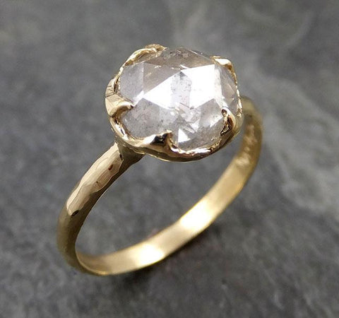 Fancy cut white Diamond Solitaire Engagement 14k yellow Gold Wedding Ring byAngeline 0986
