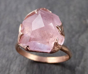 Morganite partially faceted 14k Rose gold solitaire Pink Gemstone Cocktail Ring Statement Ring Raw gemstone Jewelry by Angeline 1003
