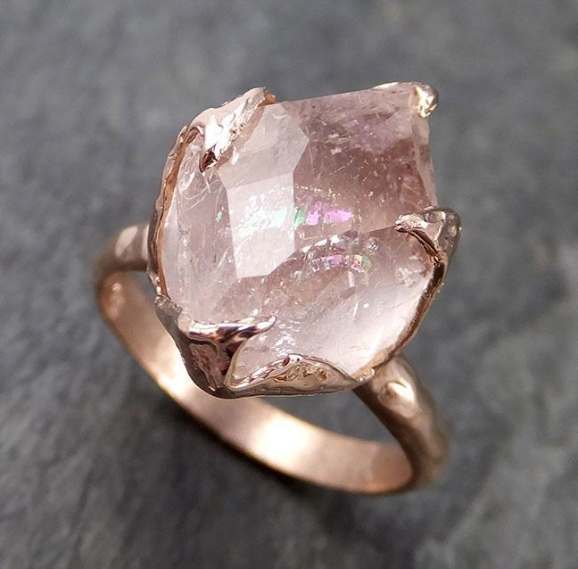 Morganite partially faceted 14k Rose gold solitaire Pink Gemstone Cocktail Ring Statement Ring gemstone Jewelry by Angeline 1005