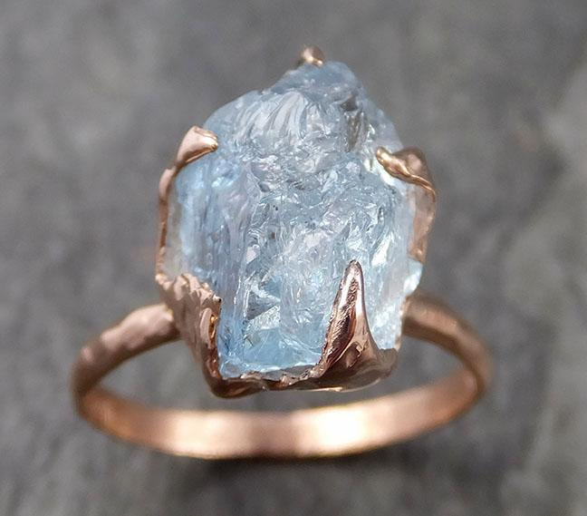 Raw uncut Aquamarine Solitaire Ring Custom One Of a Kind Gemstone Ring Bespoke byAngeline 1006