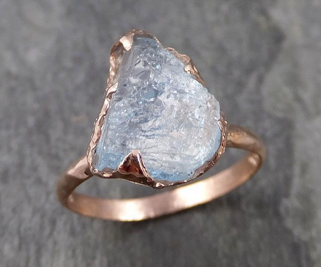 Raw uncut Aquamarine Solitaire Ring Custom One Of a Kind Gemstone Ring Bespoke byAngeline 1007