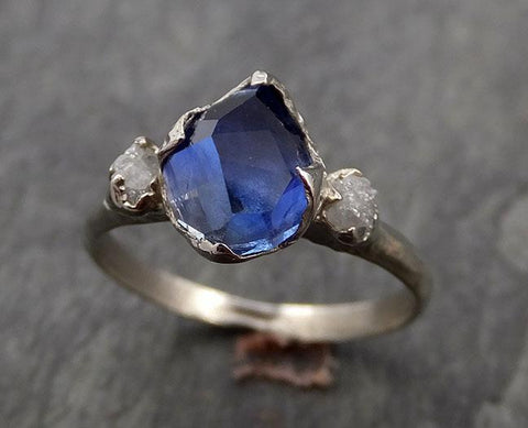 Partially faceted Sapphire Diamond 14k White Gold Engagement Ring Wedding Ring Custom One Of a Kind blue Gemstone Ring Multi stone Ring 1008