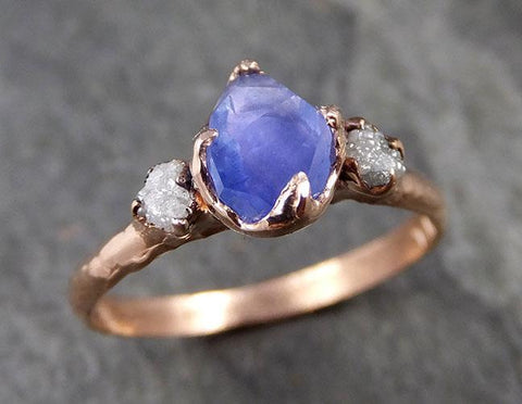 Partially faceted Montana Sapphire Diamond 14k rose Gold Engagement Ring Wedding Ring Custom One Of a Kind blue Gemstone Ring Multi stone Ring 1009