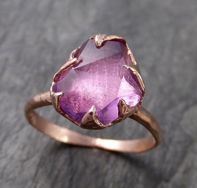 Partially Faceted Sapphire 14k rose Gold Engagement Ring Wedding Ring Custom One Of a Kind Gemstone Ring Solitaire 1010