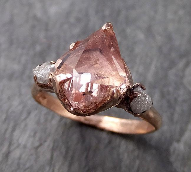 Partially Faceted Pink Topaz Diamond 14k rose Gold Ring One Of a Kind Gemstone Ring Recycled gold byAngeline Multi stone 1011