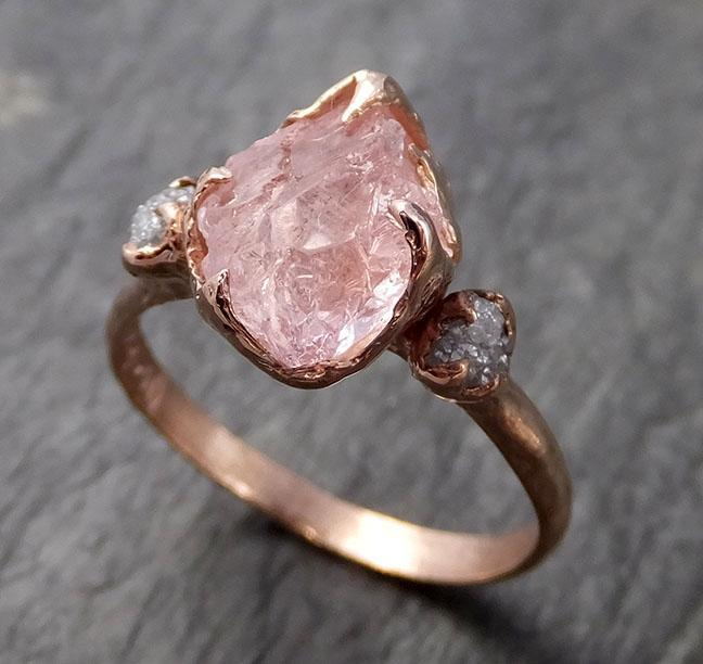 Raw Morganite Diamond Rose Gold Engagement Ring Multi stone Wedding Ring Custom Gemstone Ring Bespoke 14k Pink Conflict Free by Angeline 1012