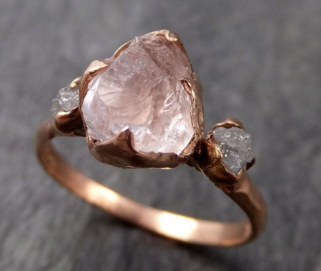 Raw Morganite Diamond Rose Gold Engagement Ring Multi stone Wedding Ring Custom Gemstone Ring Bespoke 14k Pink Conflict Free by Angeline 1013