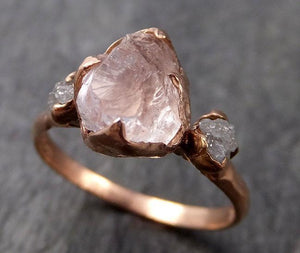 Raw Pink Morganite with rough Diamond Rose Gold Engagement Ring Multi stone Wedding Ring Custom Gemstone Ring 14k byAngeline C1013