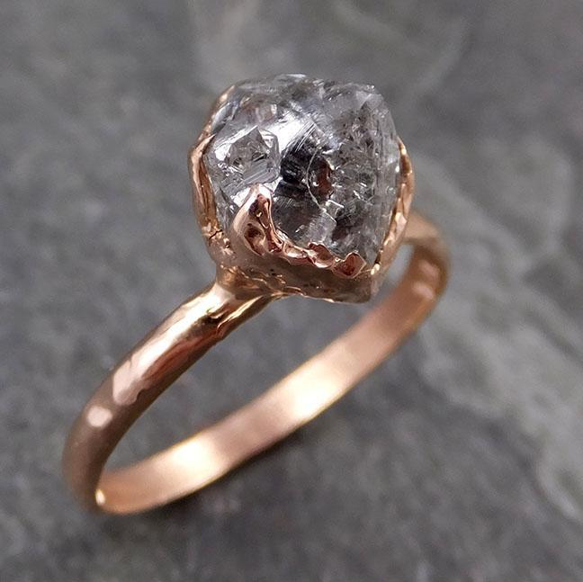 natural uncut salt and pepper Diamond Solitaire Engagement 14k Rose Gold Wedding Ring byAngeline 1014