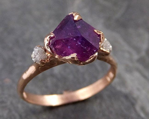Partially Faceted Sapphire Raw Multi stone Rough Diamond 14k rose Gold Engagement Ring Wedding Ring Custom One Of a Kind Gemstone Ring Three stone 1015
