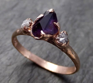 Partially Faceted Sapphire Raw Multi stone Rough Diamond 14k rose Gold Engagement Ring Wedding Ring Custom One Of a Kind Gemstone Ring Three stone 1016