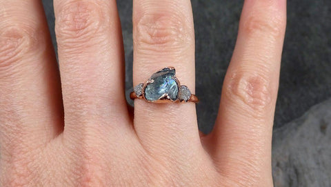 Aquamarine Diamond Raw Uncut rose 14k Gold Engagement Ring Multi stone Wedding Ring Custom One Of a Kind Gemstone Bespoke Three stone Ring byAngeline 1017