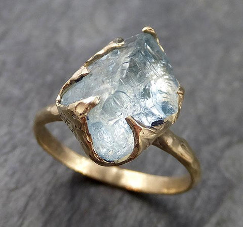 Raw uncut Aquamarine Solitaire 14k Yellow gold Ring Custom One Of a Kind Gemstone Ring Bespoke byAngeline 1018