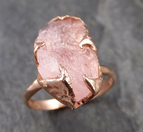 Raw Rough Morganite 14k Rose gold solitaire Pink Gemstone Cocktail Ring Statement Ring Raw gemstone Jewelry byAngeline 1019