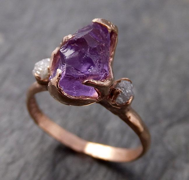 Amethyst Rose Gold Ring Purple Gemstone Recycled 14k rose Gold Gemstone Cocktail Statement ring 1020