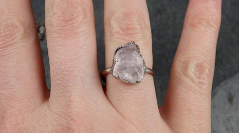 Raw Rough Morganite 14k white gold solitaire Pink Gemstone Cocktail Ring Statement Ring Raw gemstone Jewelry byAngeline 1022