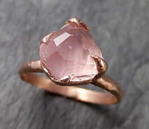 Partially Faceted Champagne Pink Morganite 14k Rose gold Solitaire Ring Gold Pink Gemstone Engagement Ring Raw gemstone Jewelry 1023