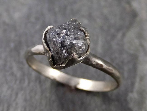 natural rough uncut salt and pepper Diamond Solitaire Engagement 14k white Gold Wedding Ring byAngeline 1025