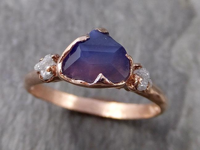 Partially Faceted purple Sapphire 14k Rose gold Multi Stone Ring Gold Gemstone Engagement Ring Raw 1026