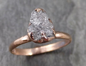 Raw Diamond Solitaire Engagement Ring Rough Uncut Rose gold Conflict Free Silver Diamond Wedding Promise 1027