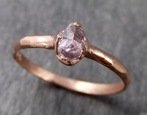Faceted Fancy cut Rose Dainty Diamond Solitaire Engagement 14k Rose Gold Wedding Ring byAngeline 1029