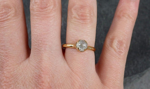 Fancy cut white Diamond Solitaire Engagement 18k yellow Gold Wedding Ring byAngeline 1031