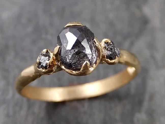 Fancy cut salt and pepper Diamond Engagement 14k Yellow Gold Multi stone Wedding Ring Stacking Rough Diamond Ring byAngeline 1034