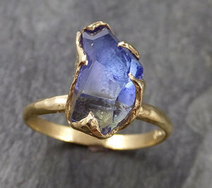 Partially faceted Tanzanite Crystal Solitaire 18k recycled yellow Gold Ring Rough Gemstone Tanzanite stacking cocktail statement byAngeline 1035