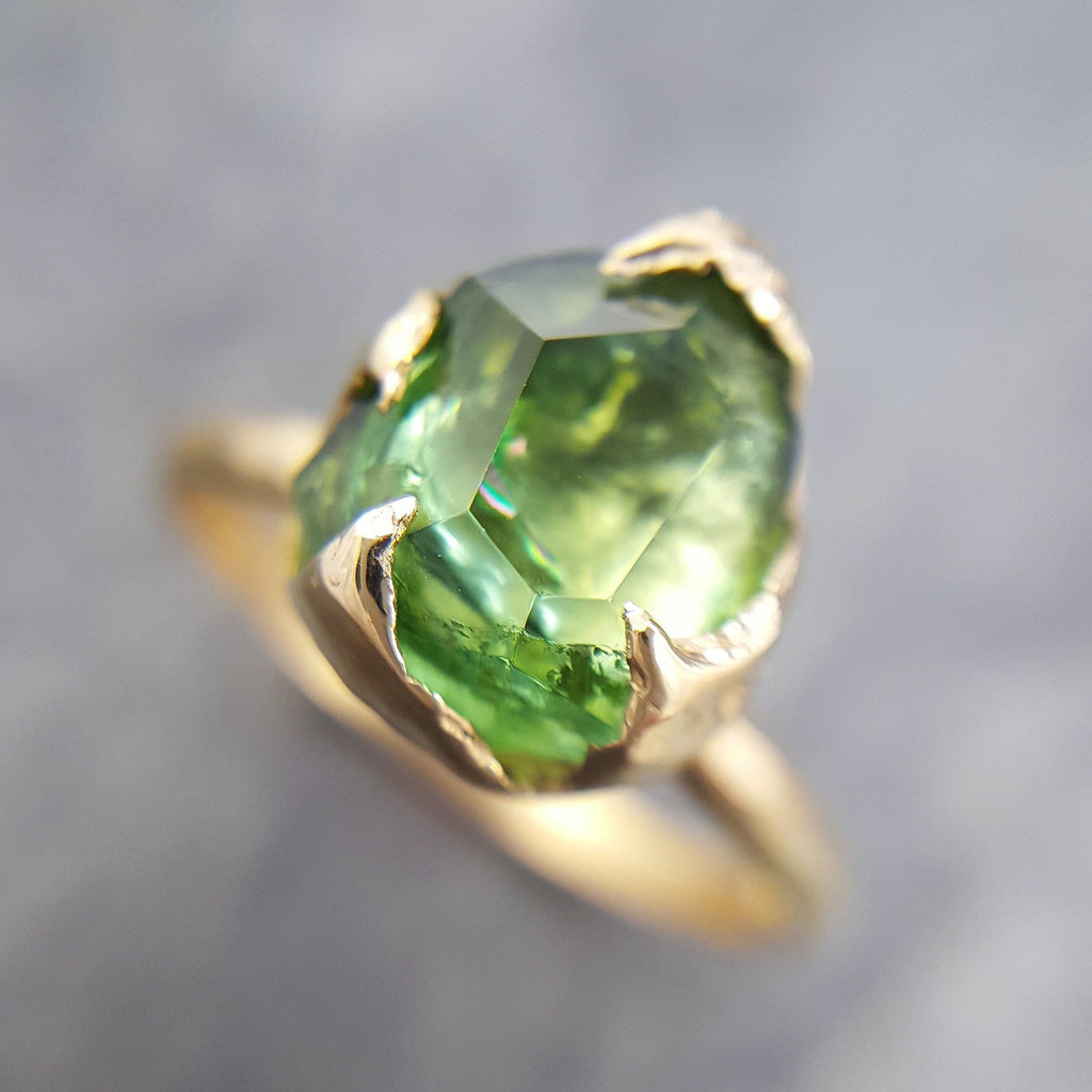 Partially faceted Solitaire Green Tourmaline 18k Gold Engagement Ring One Of a Kind Gemstone Ring byAngeline 1036