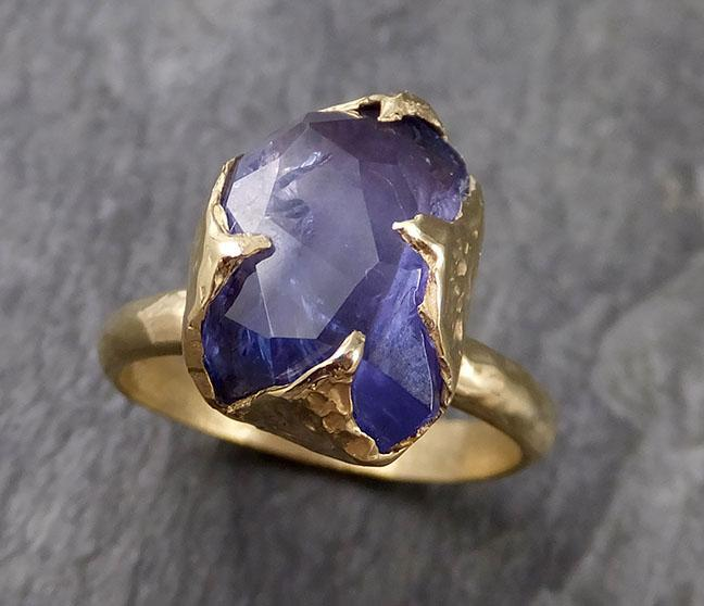 Partially faceted Tanzanite Crystal Solitaire 18k recycled yellow Gold Ring Rough Gemstone Tanzanite stacking cocktail statement byAngeline 1037