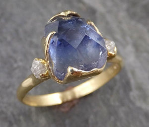 Partially faceted Tanzanite Crystal Gemstone diamond 18k Ring Multi stone Wedding Ring One Of a Kind Three stone Ring 1038