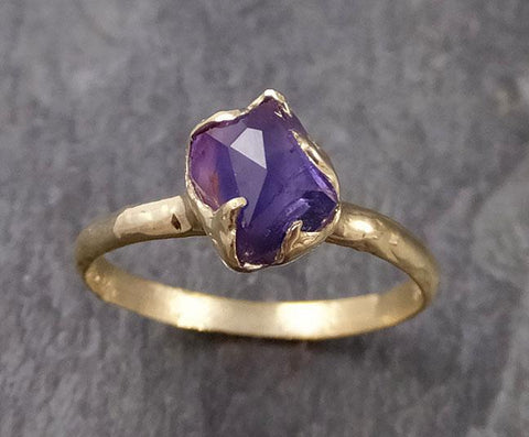 Partially faceted Tanzanite Crystal Solitaire 18k recycled yellow Gold Ring Rough Gemstone Tanzanite stacking cocktail statement byAngeline 1039