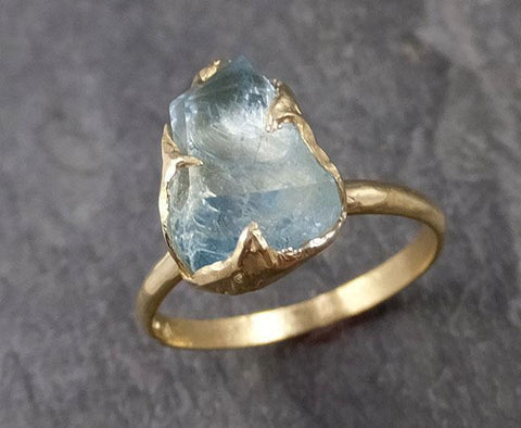 Partially faceted Aquamarine Solitaire Ring 18k gold Custom One Of a Kind Gemstone Ring Bespoke byAngeline 1040