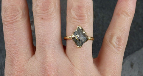 Fancy cut salt and pepper Diamond Solitaire Engagement 18k yellow Gold Wedding Ring Diamond Ring byAngeline 1043
