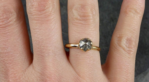 Fancy cut salt and pepper Diamond Solitaire Engagement 18k yellow Gold Wedding Ring Diamond Ring byAngeline 1052