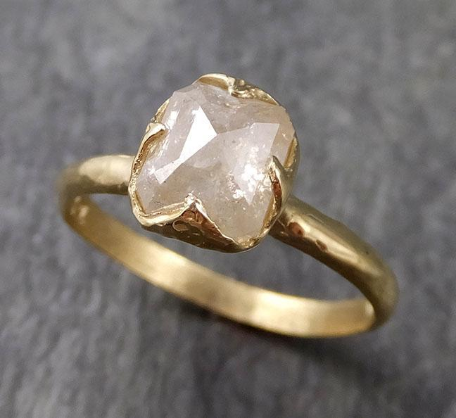 Fancy cut white Diamond Solitaire Engagement 18k yellow Gold Wedding Ring byAngeline 1057