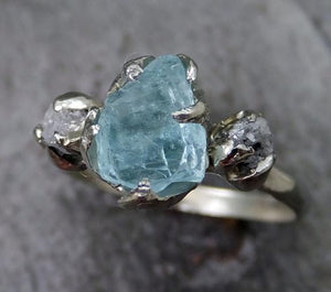 Aquamarine Diamond White Gold Engagement Ring Wedding Ring Raw Uncut Custom One Of a Kind Gemstone Ring Bespoke Three stone Ring byAngeline