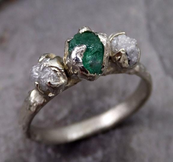 Three raw Stone Diamond Emerald Engagement Ring 14k white Gold Wedding Ring Uncut Birthstone Stacking Ring Rough Diamond Ring byAngeline - Gemstone ring by Angeline