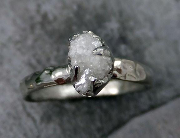 Raw Rough UnCut Diamond Engagement Ring Rough Diamond Solitaire 14k white gold Conflict Free Diamond Wedding Promise byAngeline - Gemstone ring by Angeline