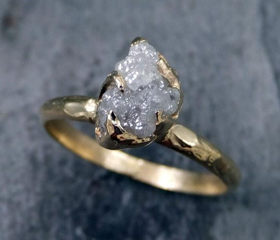 Raw Diamond Engagement Ring Rough Uncut Diamond Solitaire Recycled 14k gold Conflict Free Diamond Wedding Promise byAngeline - Gemstone ring by Angeline
