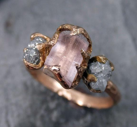 Raw Pink Tourmaline Diamond 14k Rose Gold Engagement Ring Wedding Ring One Of a Kind Gemstone Ring Three stone Ring byAngeline - Gemstone ring by Angeline