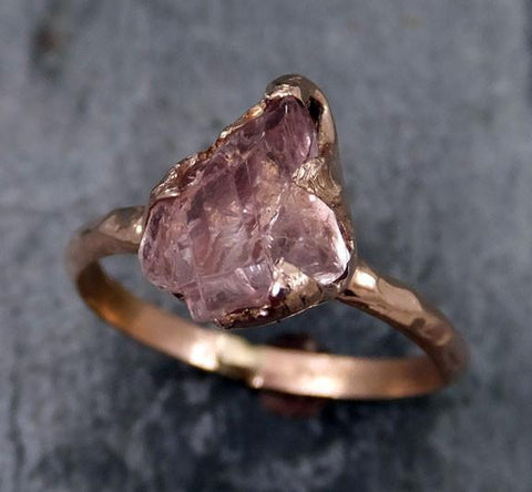 Raw Rough Champagne Pink Topaz 14k Rose gold Ring Gold Pink Gemstone Engagement Statement Ring Raw gemstone Jewelry byAngeline - Gemstone ring by Angeline